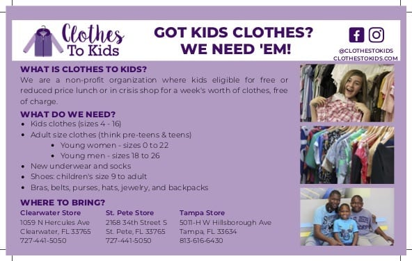Clothes to Kids Tampa needs