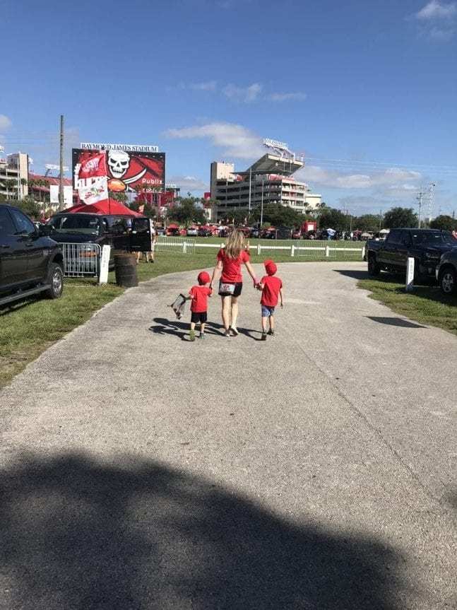 taking kids to a Bucs game parking